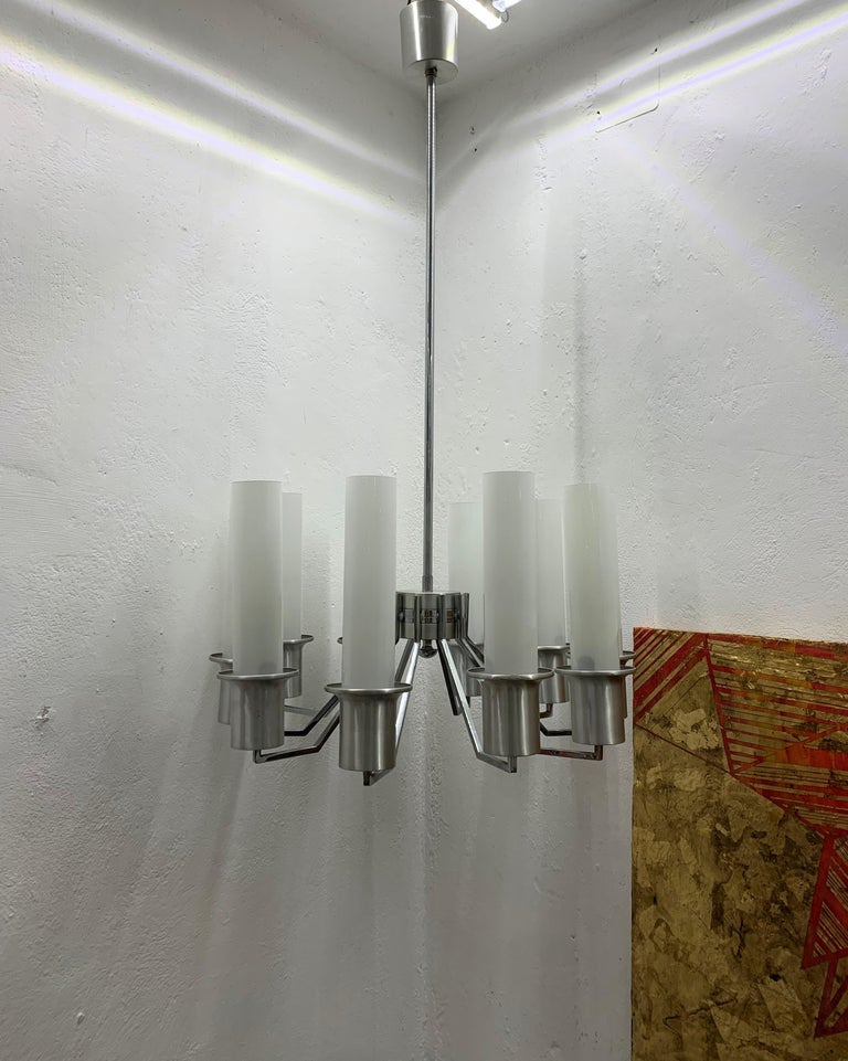 Chrome Italian 10-Light Mid-Century Modern Chandelier ITSO Artemide, circa 1970 For Sale