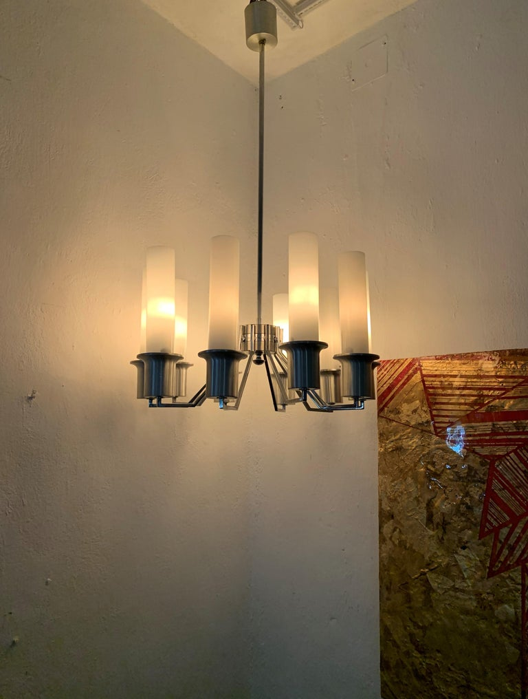 Italian 10-Light Mid-Century Modern Chandelier ITSO Artemide, circa 1970 For Sale 1