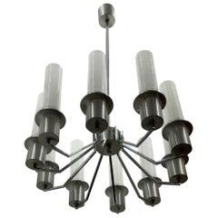 Italian 10-Light Mid-Century Modern Chandelier ITSO Artemide, circa 1970