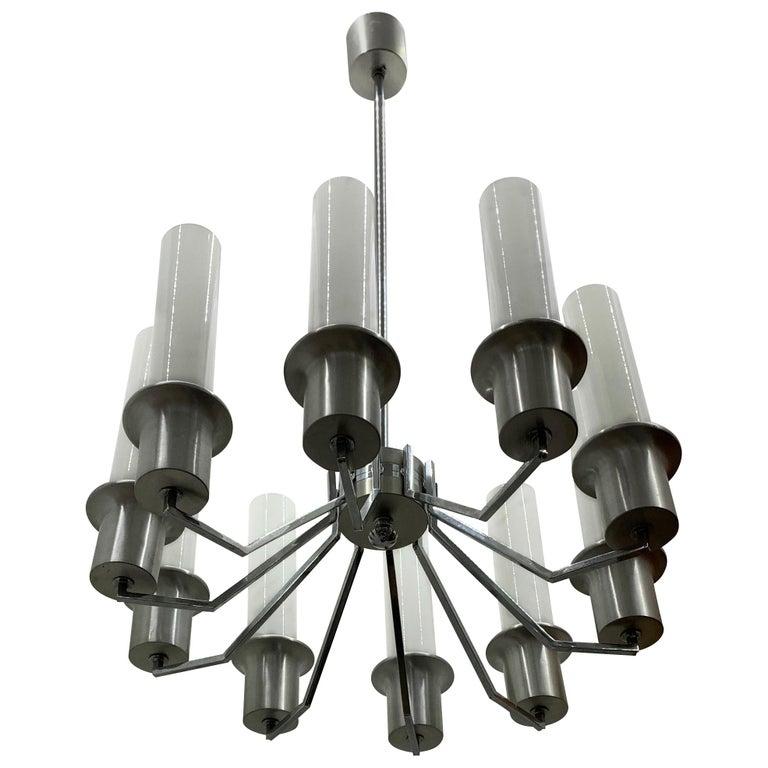 Italian 10-Light Mid-Century Modern Chandelier ITSO Artemide, circa 1970 For Sale