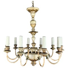 Italian '10' Light Painted Chandelier, C. 1930