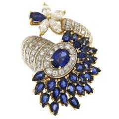 Italian 11.85 Carat Diamonds and Sapphires Designer 18 Karat Ring