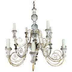 Italian (12) Light Painted Wood & Scrolled Iron Chandelier, C. 1930's