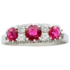 Italian 1.24 Carat Ruby and Diamond White Gold Half Eternity Ring