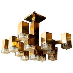 Italian, 13-Cubic Chandelier by Gaetano Sciolari, 1970s
