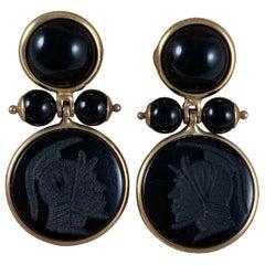 Italian 14-Karat Gold and Black Onyx Roman Armorial Intaglio Earrings