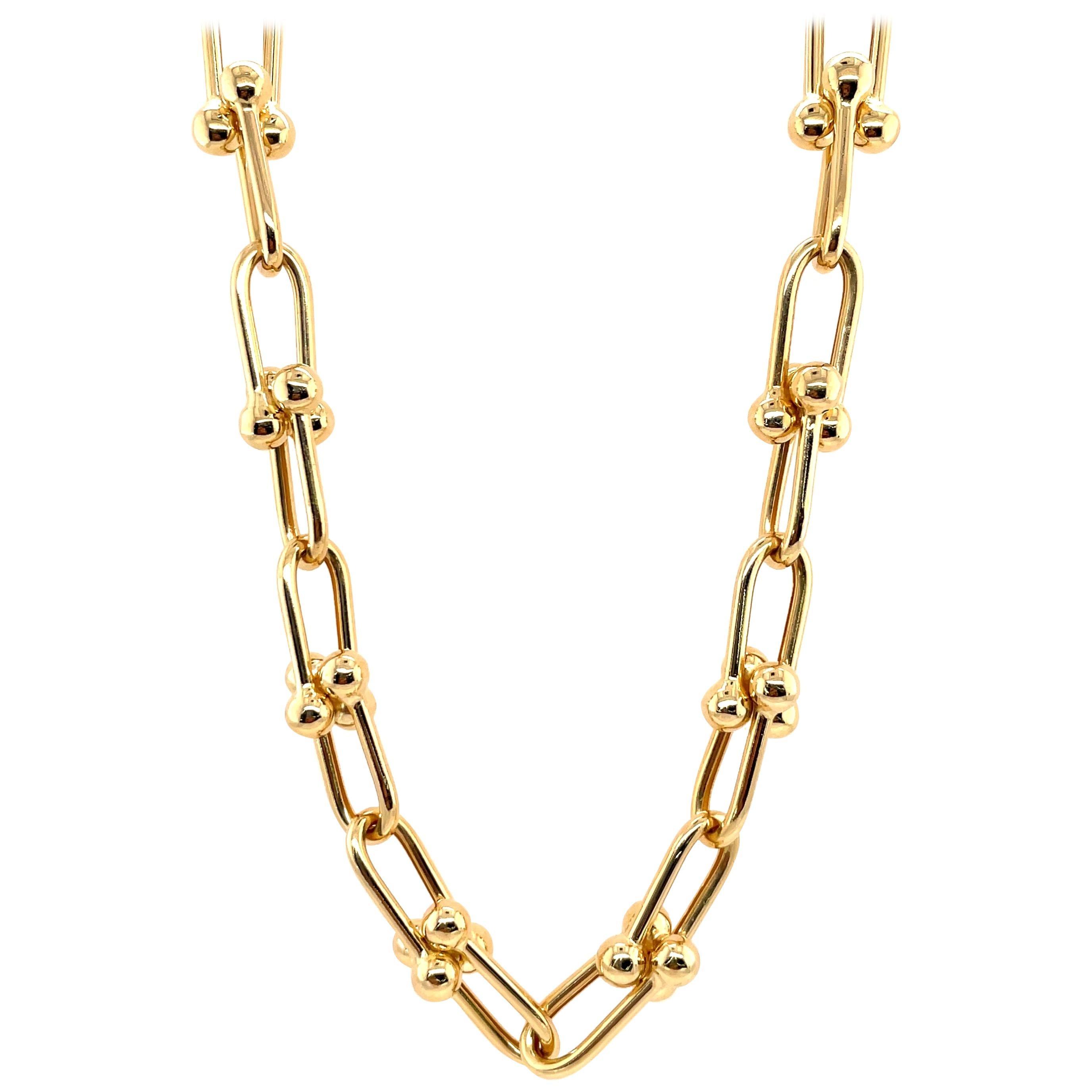 Italian 14 Karat Yellow Gold Link Ball Collar Necklace