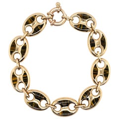 Italian 14 Karat Yellow Gold Mariner Link Bracelet 15.9 Grams