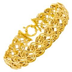 Italian 14-Karat Yellow Gold Swirling Woven Bracelet