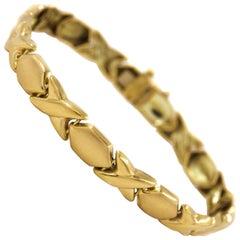 "Italian 14-Karat Yellow Gold ""X&O"" Bracelet by Concept Gold"