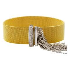 Italian 14K Yellow and White Gold Woven Bracelet with Diamond Buckle circa 1950s