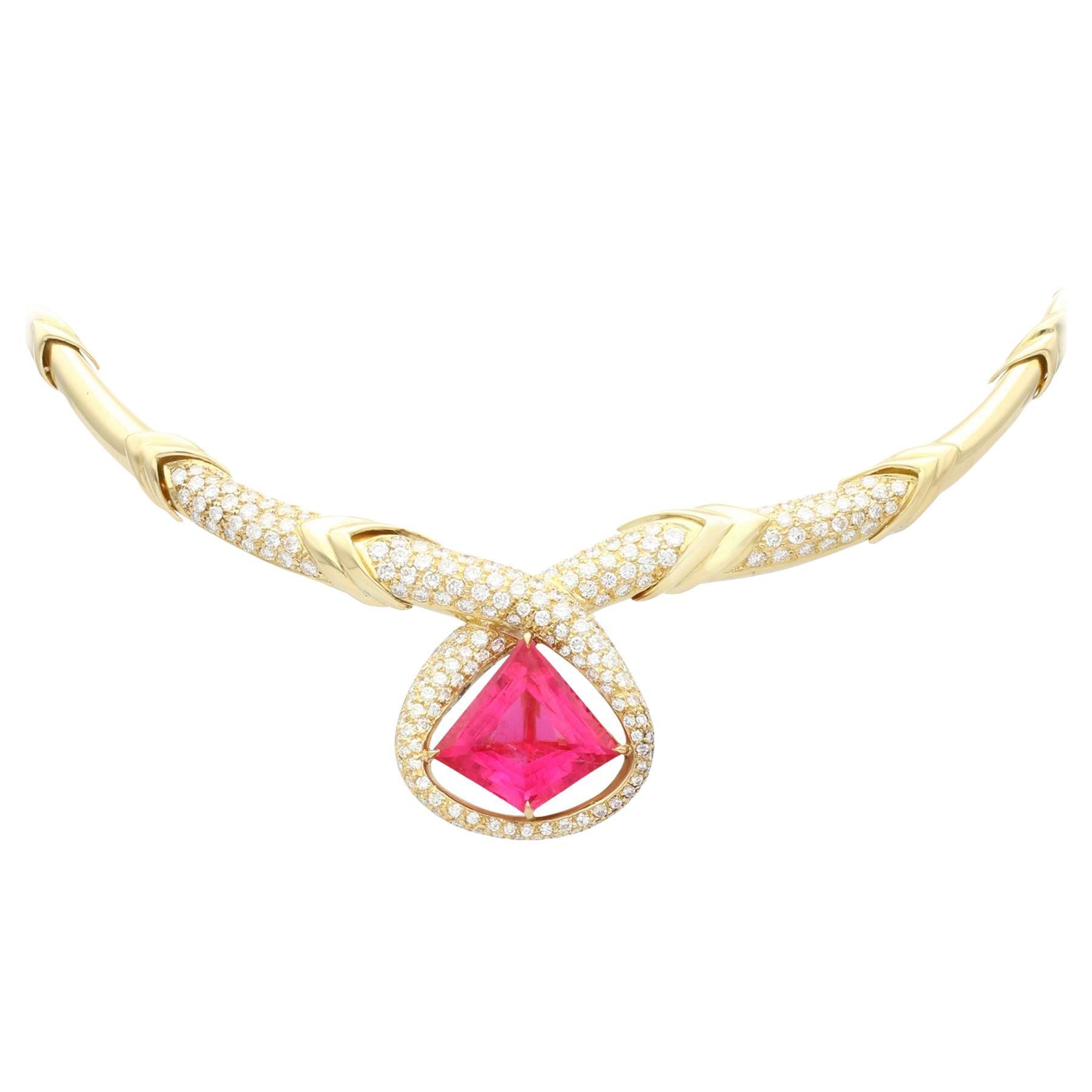 Italian 15.65 Carat Pink Tourmaline and 6.90 Carat Diamond Yellow Gold Necklace