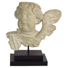 Italian 17/18th Century Carved Limestone Angel Head