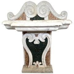 Italian 17th Century Marble Inlaid Fountain