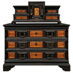 Italian 17th Century Ebonized Fruitwood, Walnut and Tulipwood Baroque Chest