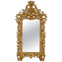Italian 17th Century Louis XIV Period Baroque Giltwood Mirror