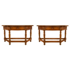 Italian 17th Century Louis XVI Period Walnut Consoles / Center Table