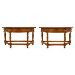 Italian 17th Century Louis XVI Period Walnut Consoles or Center Table