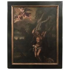 Italien 17. Jahrhundert Öl auf Leinwand Gemälde des Heiligen Sebastian