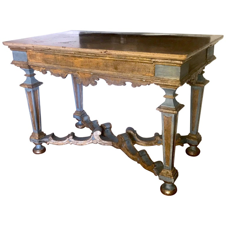 Elegant Italian 17th century light blue painted and parcel-gilt console tables with a marble top. Provenience from a Tuscany aristocratic estate. Rustic elegance decor.