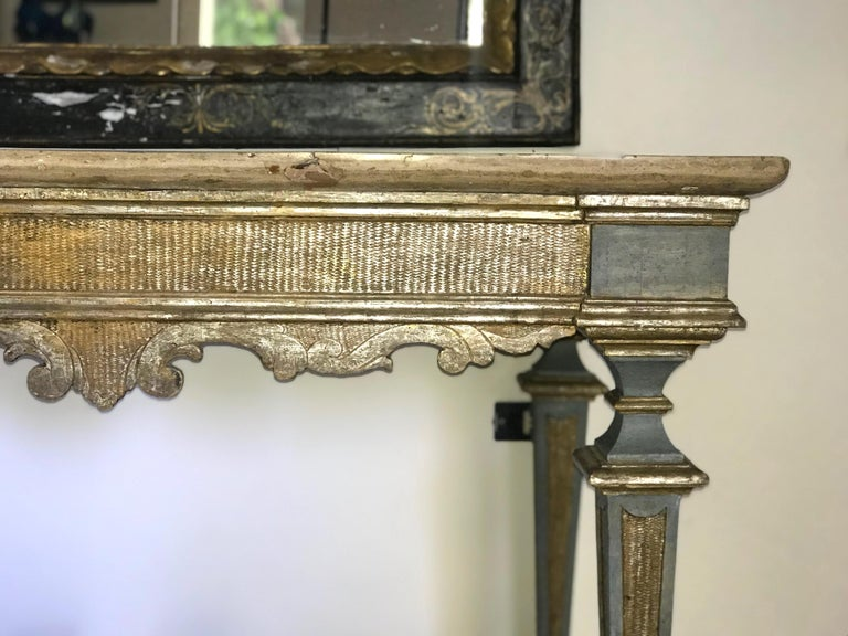 Italian 17th Century Painted and Parcel-Gilt Console Table In Good Condition For Sale In Rome, IT