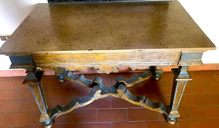 18th Century and Earlier Italian 17th Century Painted and Parcel-Gilt Console Table For Sale