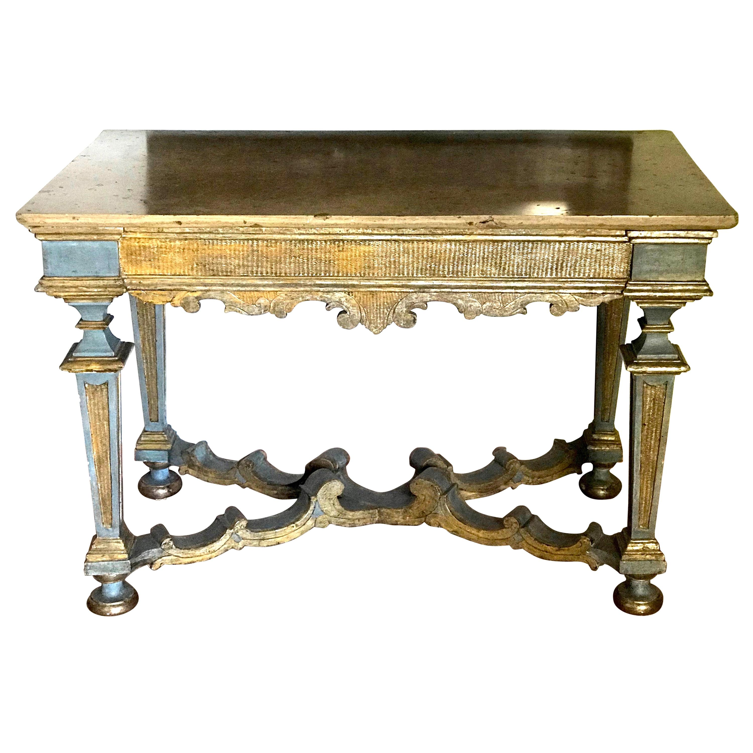 Italian 17th Century Painted and Parcel-Gilt Console Table