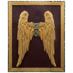 Italian 17th Century Pair of Wings Set on Faux Painted Marble Background