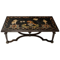 Italian 17th Century Scagliola Panel Mounted on Iron Base as a Coffee Table