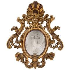 Italian 17th Century Sicilian Mecca and Polychrome Oval Mirror, circa 1650