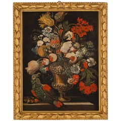 Italian 17th Century Still Life Oil on Canvas from Rome
