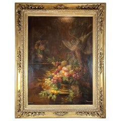 Italian 17th Century Still Life Painting in Period Carved Gilt Frame