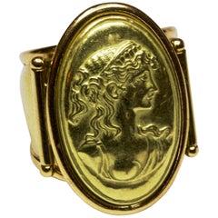 Italian 18 Carat Yellow Gold Portrait Ring