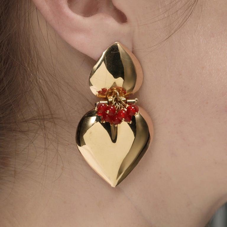 Women's or Men's Italian 18 Karat Gold and Carnelian Double Heart Earrings For Sale
