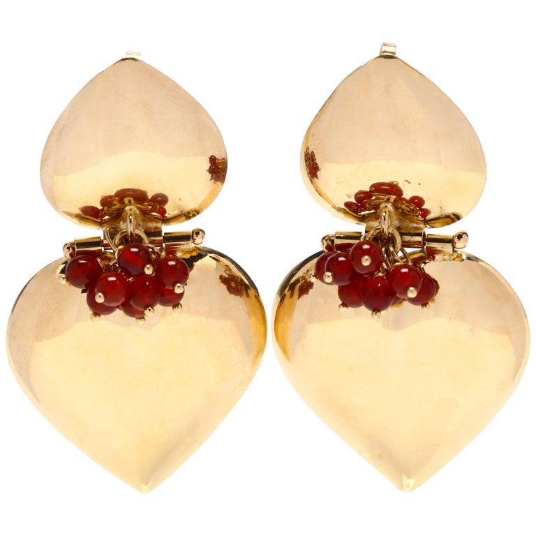 Italian 18 Karat Gold and Carnelian Double Heart Earrings For Sale