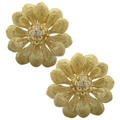 Italian 18 Karat Gold and Diamond Flower Earrings
