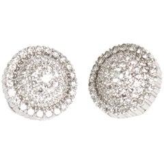 Italian 18 Karat Gold and Diamond Pierced Lever Back Dome Earrings