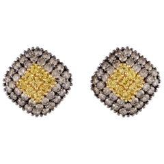 Italian 18 Karat Gold Brown Diamond and Yellow Sapphire Pave Rhomb Earrings