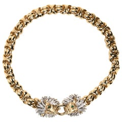 Italian 18 Karat Gold Collar Necklace with Diamond Encrusted Lion Heads