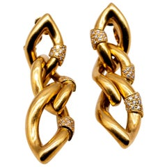 Italian 18 Karat Gold Diamond Earrings