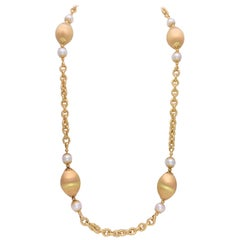 Italian 18 Karat Gold Necklace with AA Salt Water Pearls