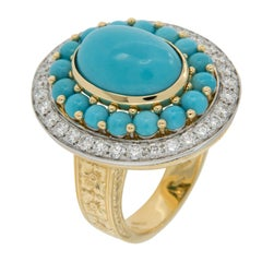 Italian 18 Karat Gold Persian Turquoise and Diamond Ring Made in Italy