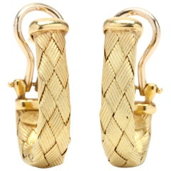 Italian 18 Karat Gold Woven Hoop Earrings