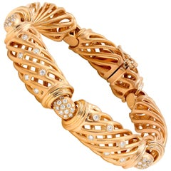 Italian 18 Karat Rose Gold Flexible Diamond Link Bracelet