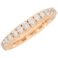 Italian 18 Karat Rose Gold Stretch Diamond Band Ring
