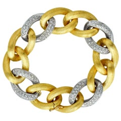 Italian 18 Karat White and Yellow Gold Diamond Link Bracelet