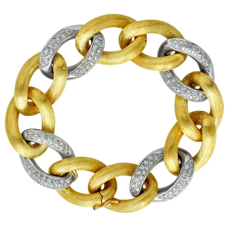Italian 18 Karat White and Yellow Gold Diamond Link Bracelet