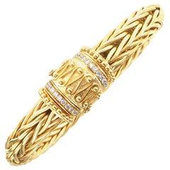 Italian 18 Karat Woven Gold Diamond Clasp Bracelet