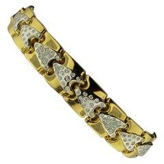 Italian 18 Karat Yellow and White Gold Diamond Bracelet
