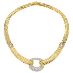 Italian 18 Karat Yellow Gold 3 Carat Diamond Collar Necklace